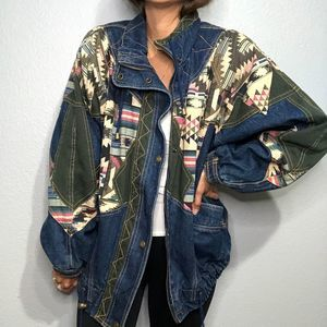 Vintage Izzi Aztec Denim patch work jacket Medium